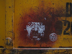 C215 - 'Homeless' on skip (Romany WG) Tags: streetart london stencil homeless bums tramps vagrants c215