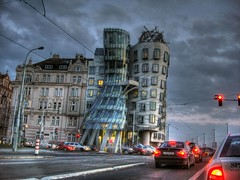 Red lights at dancing house in Prague (Rich pick) Tags: house frank dancing prague prag praha gehry maison hdr miluni dancante