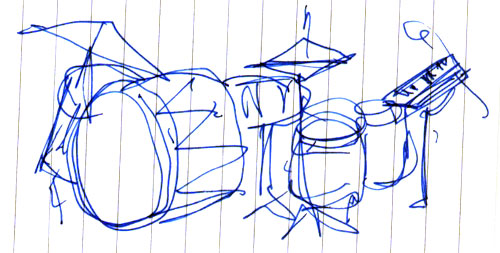 sketch of drum kit