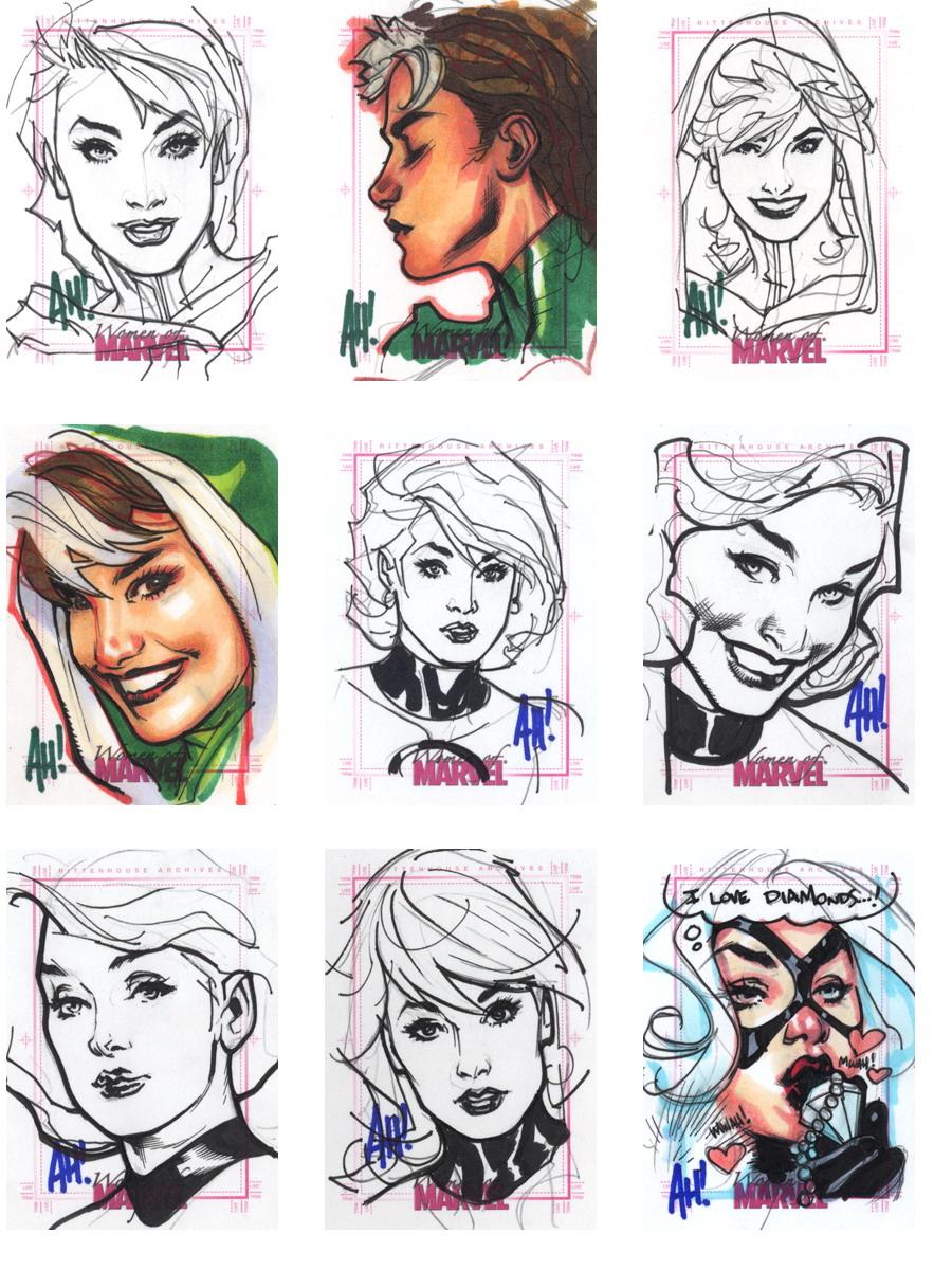 Women of Marvel (sketch trading cards, Adam Hughes)