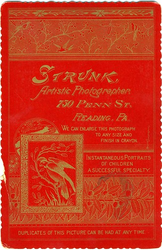 Verso, Memorial Cabinet Card, Anonymous Woman, Reading Pennsylvania