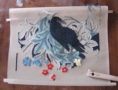 Raven in early June (MaryMTB) Tags: birds needlepoint raven williammorris bethrussell continentaltentstitch foligage
