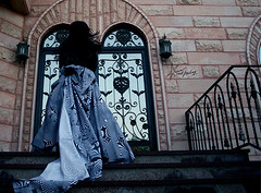 "119\365   rase the silence (""Anwaar) Tags: door woman white house black art girl canon photography photo gate sad dress surreal days 365 feeling kuwait emotions 119 q8 sadfeeling 400d diamondclassphotographer flickrdiamond"
