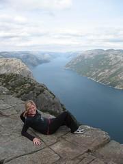 Erin slides up to the edge (DavidLynch) Tags: norway preikestolen preistpulpit