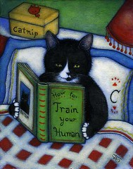 How to Train your Human (Heidi Shaulis) Tags: cute art animal cat painting catnip tuxedocat anthropomorphic efa catpainting westcorinthstudio heidishaulis