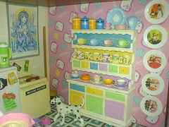 Rainbow Dresser (Rainbow Mermaid) Tags: food house color colour cute kitchen fairytale miniature colorful doll dolls tea small plate mini cups fairy tiny teacups colourful hutch rement tale dollhouse crockery