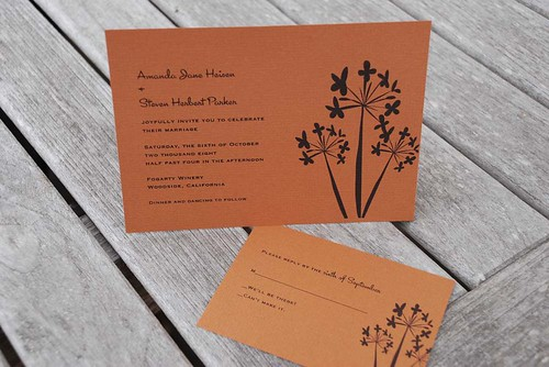 orange agapanthus wedding invitation, , wedding invitation, flowers, photos