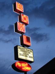Blue Hour Bowling (Vintage Roadside) Tags: sign oregon portland neon signage bluehour bowlingalley southeastportland vintageroadside pro300lanes neonbowlingsign portlandbowlingalley