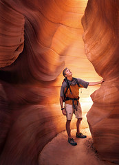 Self Portrait in a Slot Canyon by Michael Anderson (AndersonImages) Tags: world travel arizona people orange usa southwest digital america religious michael utah nationalpark locals earth united traditional north culture canyon beam hasselblad anderson planet antelope medium format zion lonely local states wilderness activity slot cultural traveler michaelanderson h2d