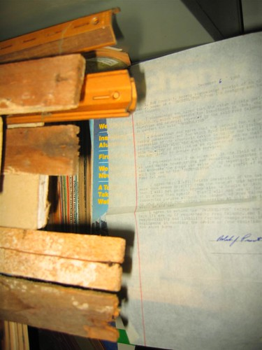 Old typed letter in a pile