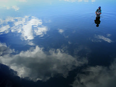 Wading through the sky (James Jordan) Tags: sky fish reflection water clouds river illinois fishing fisherman dundee wade foxriver waders s700 mywinners abigfave platinumphoto anawesomeshot superaplus aplusphoto