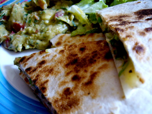 quesadillas with guacamole.