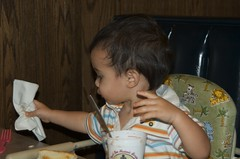 Benji's using a napkin