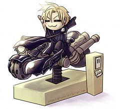 Cloud's Motorcycle (Miki Miki something) Tags: boy cloud man guy mall children fun store hilarious funny advent ride humor 7 dude final fantasy blonde motorcycle grocery miki vii strife triumphant
