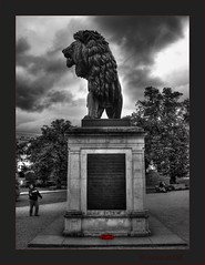 IMG_4825_b Maiwand Memorial (busb) Tags: trees red england people bw sculpture afghanistan animal gardens clouds manipulated bench reading mono memorial lion explore wreath poppies figure castiron tribute southeast warmemorial berkshire berks selectivecolor selectivecolour forburygardens maiwandlion photomatix busb tonemapped georgeblackallsimonds battleofmaiwand