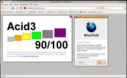 Acid3 à 90/100 pour Minefield