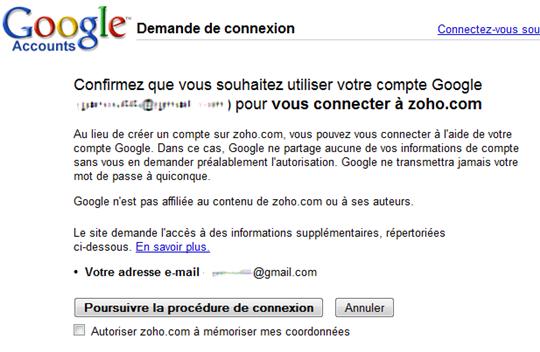 zoho identification google