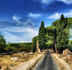 Via Appia Antica (` Toshio ') Tags: road blue trees sky italy rome roma building history colors clouds italian ancient europe italia roman path stones perspective pines tombs hdr europeanunion toshio viaappiaantica abigfave highdynamicresolution platinumphoto theunforgettablepictures