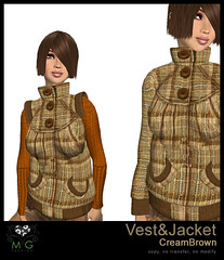 [MG fashion] Vest&Jacket (CreamBrown)