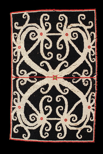 //Bead Panel// from a baby carrier, Ngaju people. Borneo 20th century, 41 x 26 cm. From the Teo Family collection, Kuching. Photograph by D Dunlop.