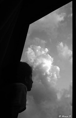 good morning (Nima and his ZeNit-122) Tags: morning sky blackandwhite bw window girl clouds goodmorning