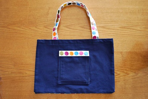 blue tote bag front lynda