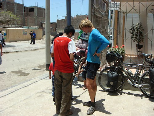 Being interviewed on the street in Pisco by a young English student and his teacher...