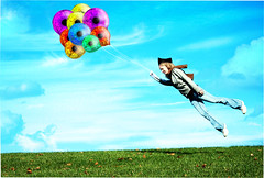 Ballons v2 (abduction) (Knownasilya {Seek JESUS}) Tags: portrait sky nature girl grass photoshop canon rebel flying eyes manipulation scholar 1855mm phd ballons hovering graduated xsi ilya 450d radchenko