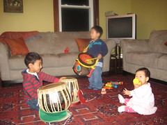 Our band. Owen on drums, Aki on shaker, and Ronak on tabla