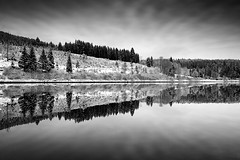 Place Of Contemplation (Martin Gommel) Tags: xmas schnee trees winter sky bw white snow tree water forest germany weihnachten landscape mirror landscapes snowy himmel chrome land sw schwarzweiss landschaft wald weiss bume blackforest chrismas lanschaft epiceditsselection