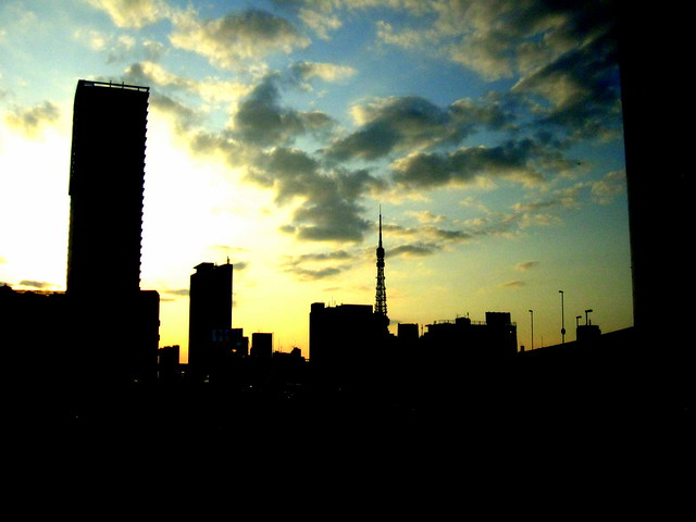 sun sets in Tokyo