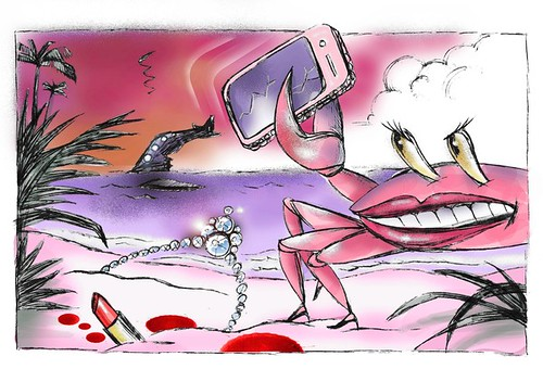 Drawing by Rueben Munoz of a pink beach by purple water under a pink and orange sky. A giant pink crab with a big, lipsticked mouth with teeth wears stilettos and holds a cracked cell phone in one claw. A jeweled crown and an open pink lipstick sit in the sand, surrounded by drops of blood. In the distance, the back half of a wrecked plane sticks out of the water.