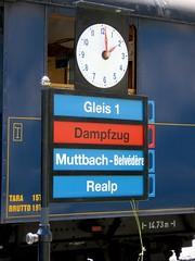 (Marcin Wichary) Tags: clock train switzerland steam signage traintrip furka gletsch