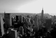 Manhattan skyline (Neal Bingham) Tags: plaza nyc newyorkcity blackandwhite bw ny newyork skyline skyscraper observation liberty nikon cityscape manhattan deck empirestatebuilding artdeco chryslerbuilding rockefeller gotham topoftherock theaterdistrict 18135mm d40x