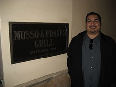 James outside Hollywood's Musso & Frank Grill. (02/27/2008)