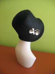 Mimi with black cloche side view