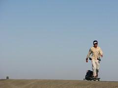 Pushing through endless desert near Turpan, Xinjiang Province, China