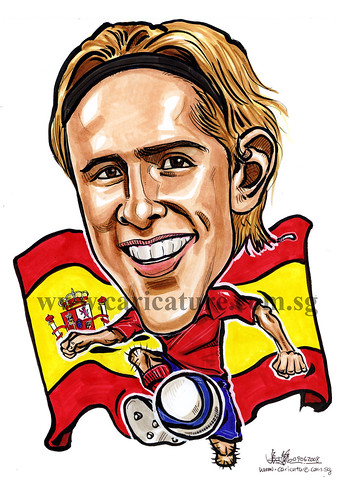 Caricature of Fernando Torres colour watermark