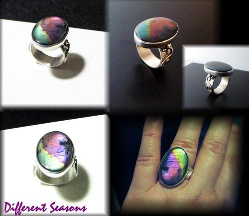 Hot Pink Spectrolite Ring