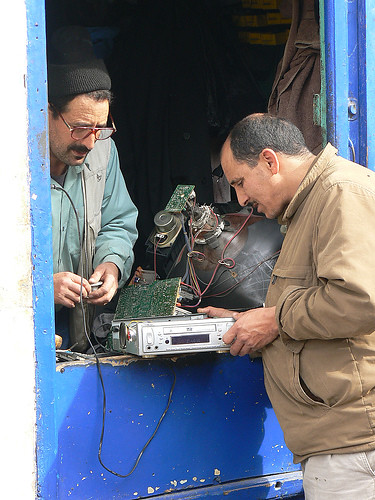 Television repair shop in the middle east.
