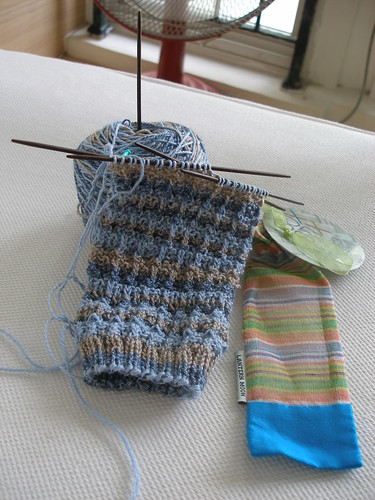 eyelet bar socks in progress