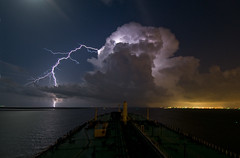 Night Thunderstorm (OneEighteen) Tags: storm galveston night port harbor marine ship houston maritime thunderstorm lightning nautical pilot galvestonbay houstonshipchannel 3000v120f skyascanvas