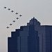 Red Arrows Formation Meets Building