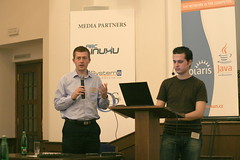 Petr Tomasek and Robert Malovec speaking at OSDevCon 2008. Photo courtesy of Jim Grisanzio.