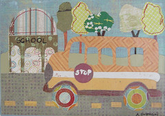 school bus (CONFETTI paperie) Tags: school bus collage kids painting paper artwork acrylic hand made decor