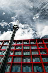 Into The Sky (Philipp Klinger Photography) Tags: street blue light red sky architecture clouds germany deutschland hotel hessen looking angle pov frankfurt wide fair lantern messe philipp upwards hesse mvenpick klinger aplusphoto visiongroup onlythebestare dcdead thgoldendreams vision100