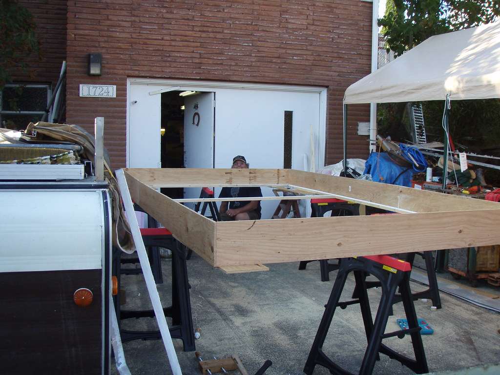 Bri working on new roof frame