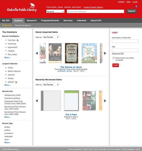 OPL Bibliocommons catalog home page