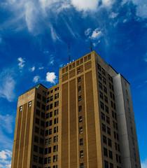 Upwards! (kuyman) Tags: building digital skyscraper colorful huntington wv westvirginia polarizer d40x nikond40xdigitalwindowstallbuildinggeometry