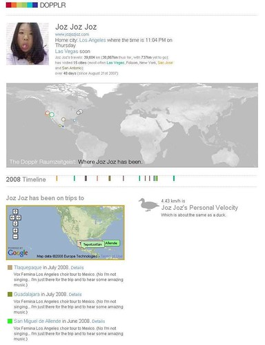 Joz's Dopplr profile as of 7/24/2008